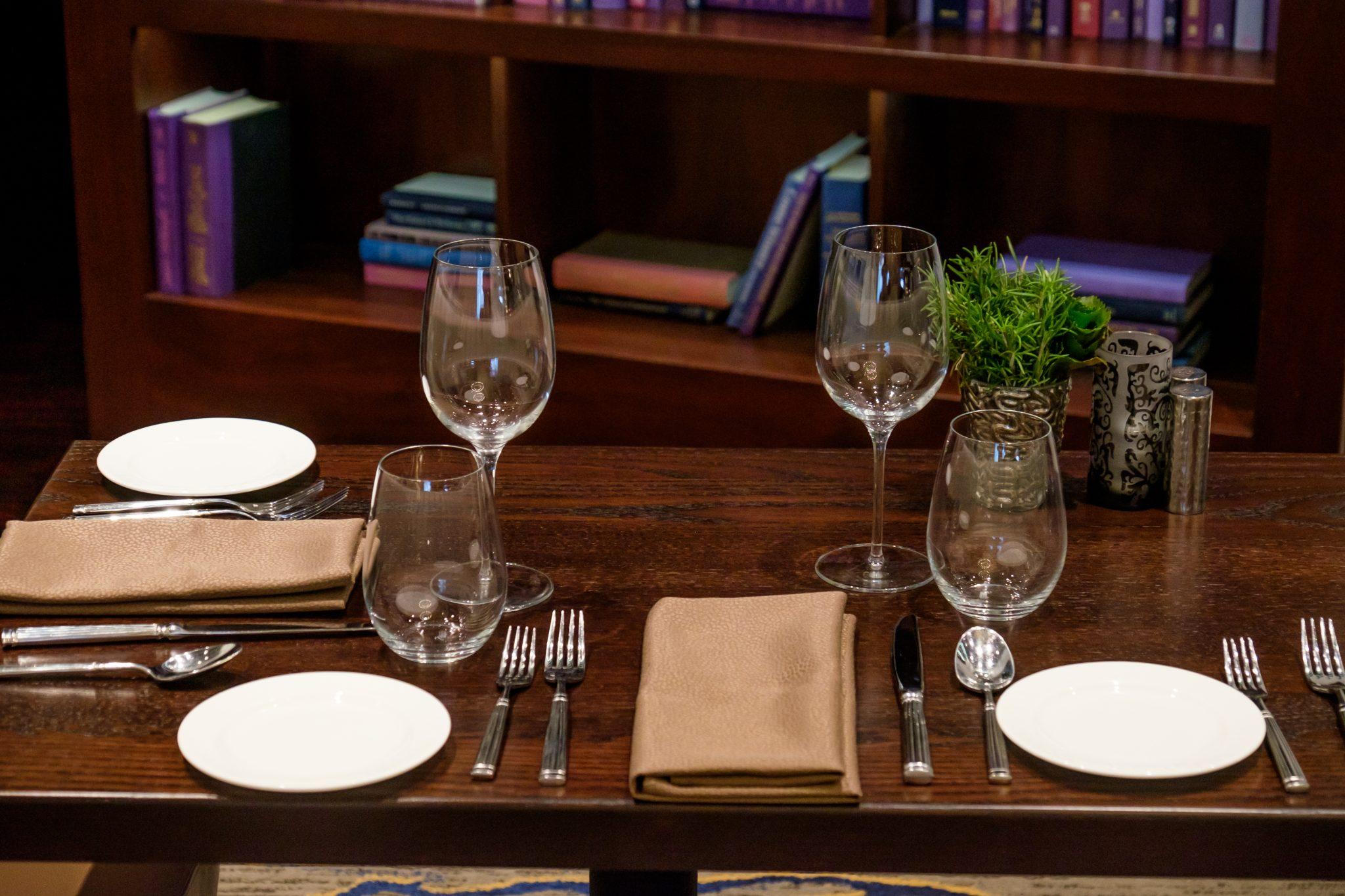 Wine glasses setting