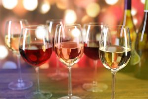 Christmas, New Year's holiday wines with lights