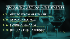 The Art of Wine August Schedule of Dates
